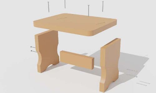 The algorithm's deconstruction of a wooden stool.